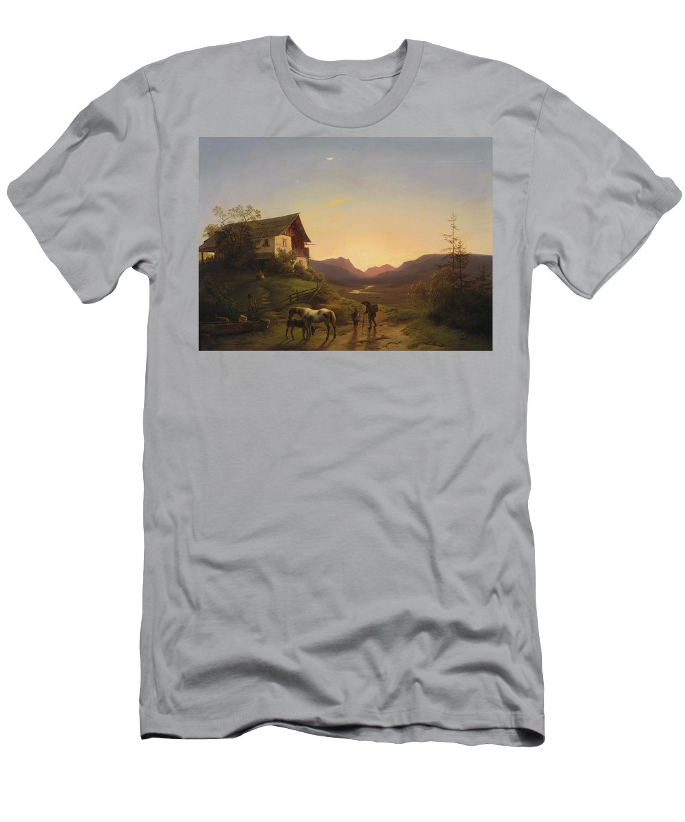 Ignaz Raffalt Men's T-Shirt (Athletic Fit) featuring the painting Evening Mood In Front Of A Wide Landscape With Horses by Ignaz Raffalt