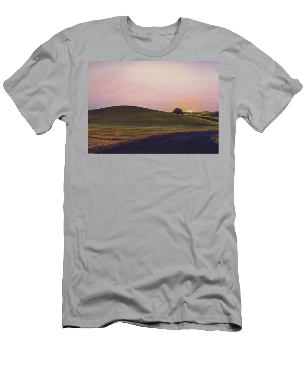 Wheat Men's T-Shirt (Athletic Fit) featuring the painting Evening Near Viola by Leonard Heid