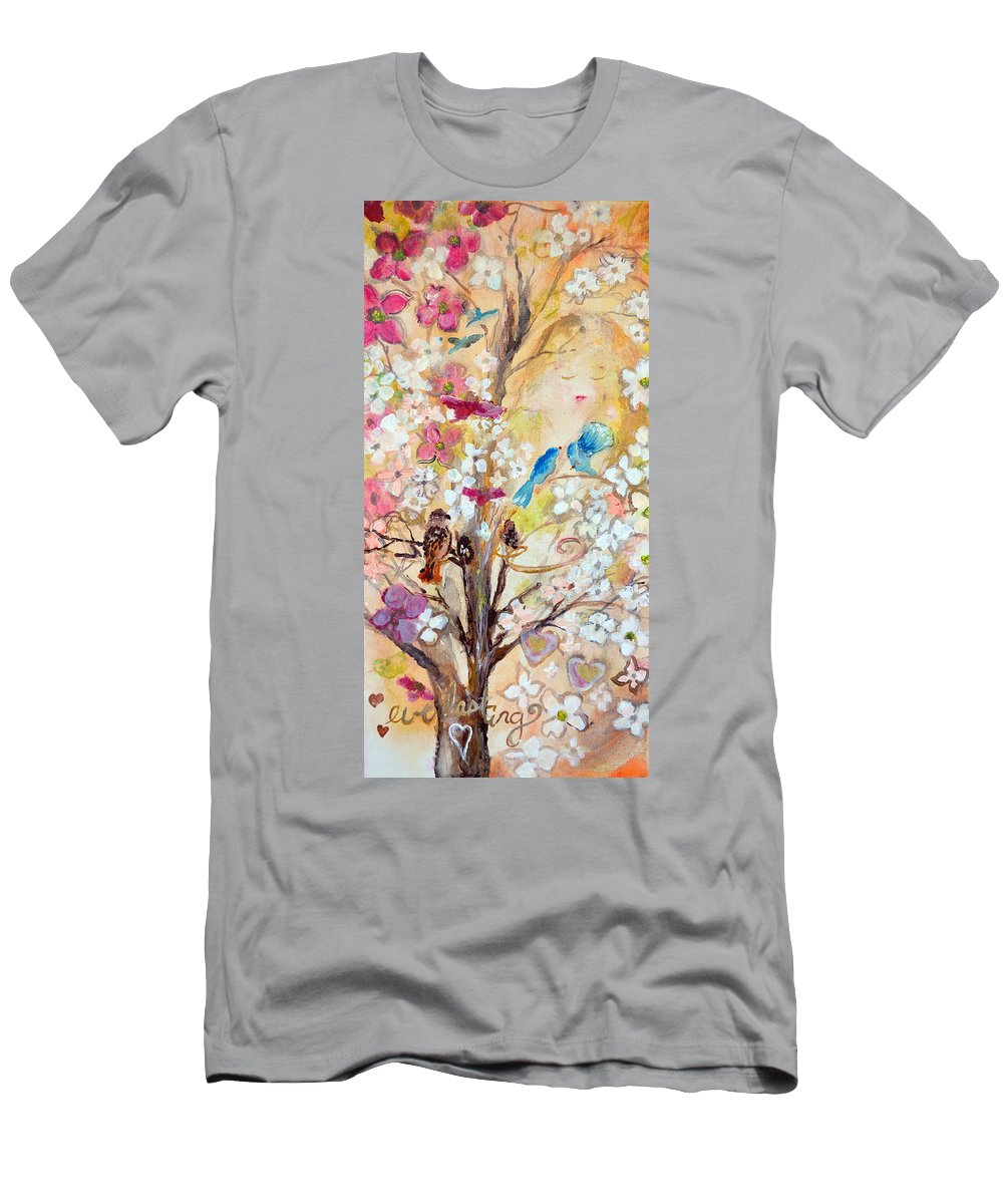 Dogwood Men's T-Shirt (Athletic Fit) featuring the painting Love Everlasting by Ashleigh Dyan Bayer