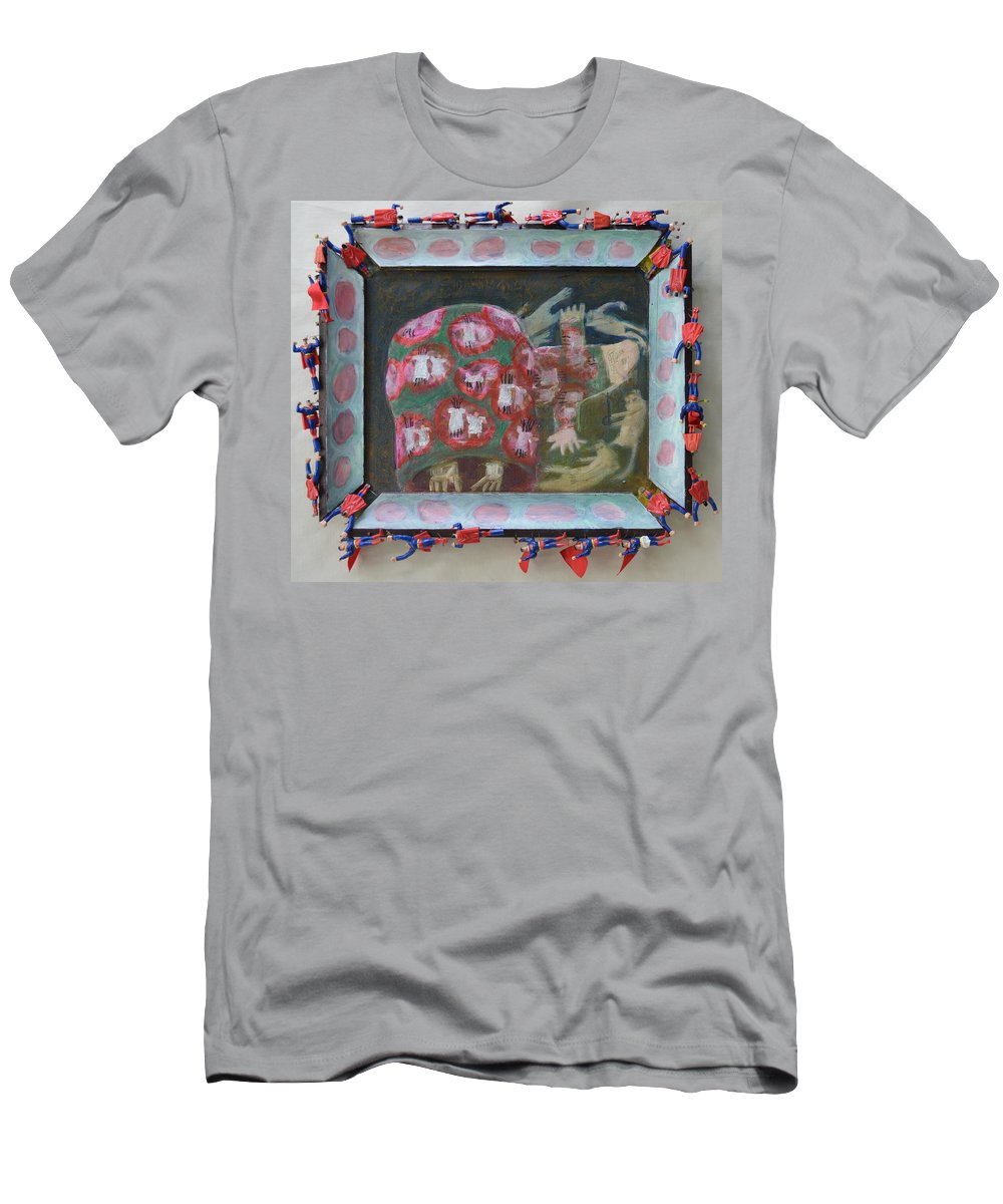 Abstract Modern Outsider Raw Woman Figure Red Dance Dancing Dress Backside Children Hand Holding Circle Folk Men's T-Shirt (Athletic Fit) featuring the painting Everything Here Owes Its Life To A Gopher - Framed by Nancy Mauerman