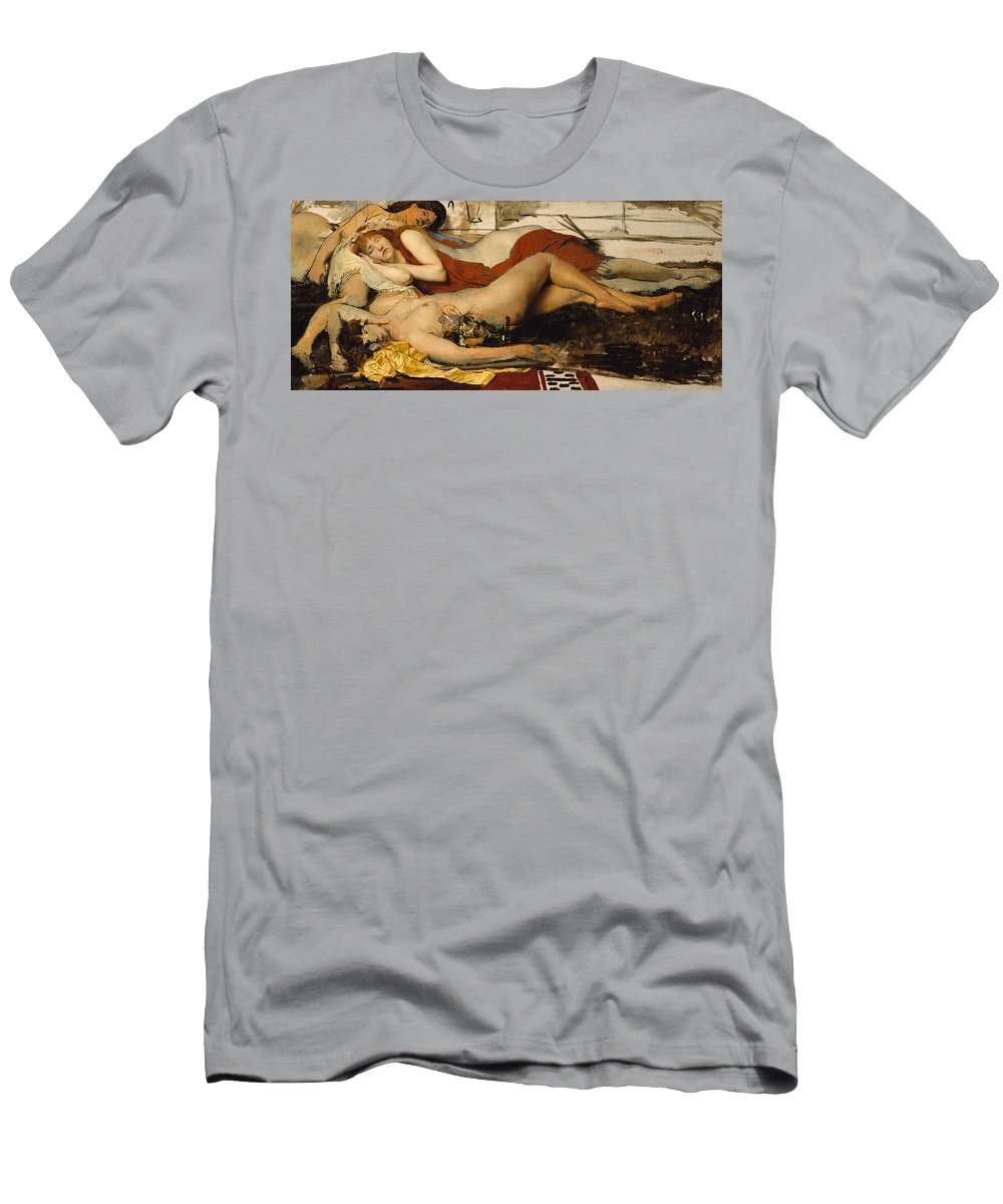 Nude Men's T-Shirt (Athletic Fit) featuring the painting Exhausted Maenides by Sir Lawrence Alma Tadema