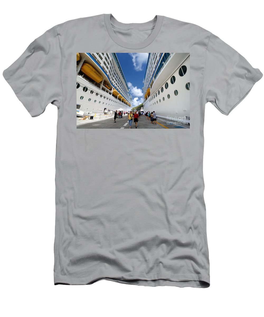 Adventure Of The Seas Men's T-Shirt (Athletic Fit) featuring the photograph Explorer Of The Seas And Adventure Of The Seas by Amy Cicconi