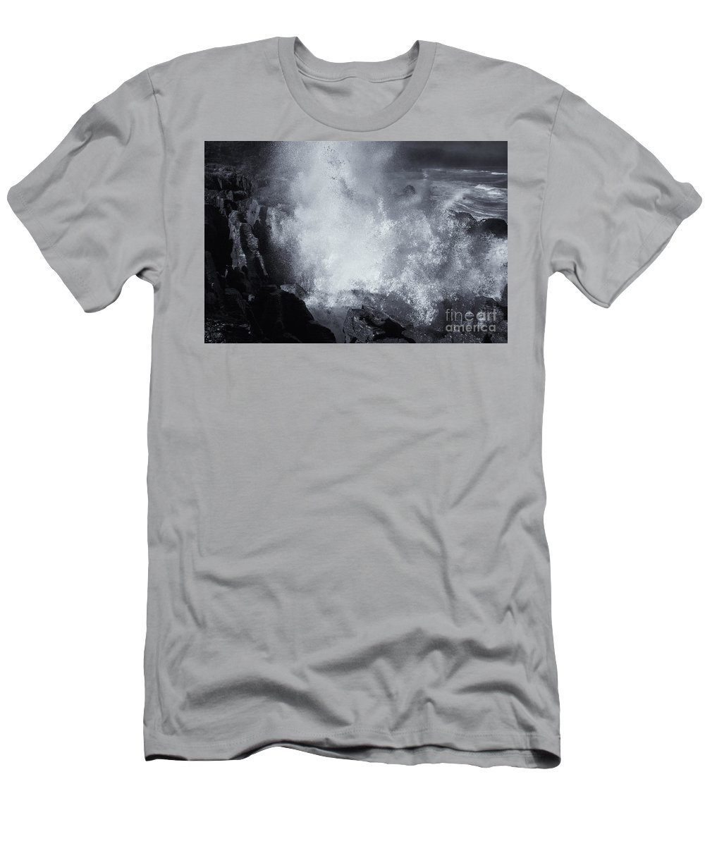 Pancake Rocks Men's T-Shirt (Athletic Fit) featuring the photograph Explosive Sea by Mike Dawson
