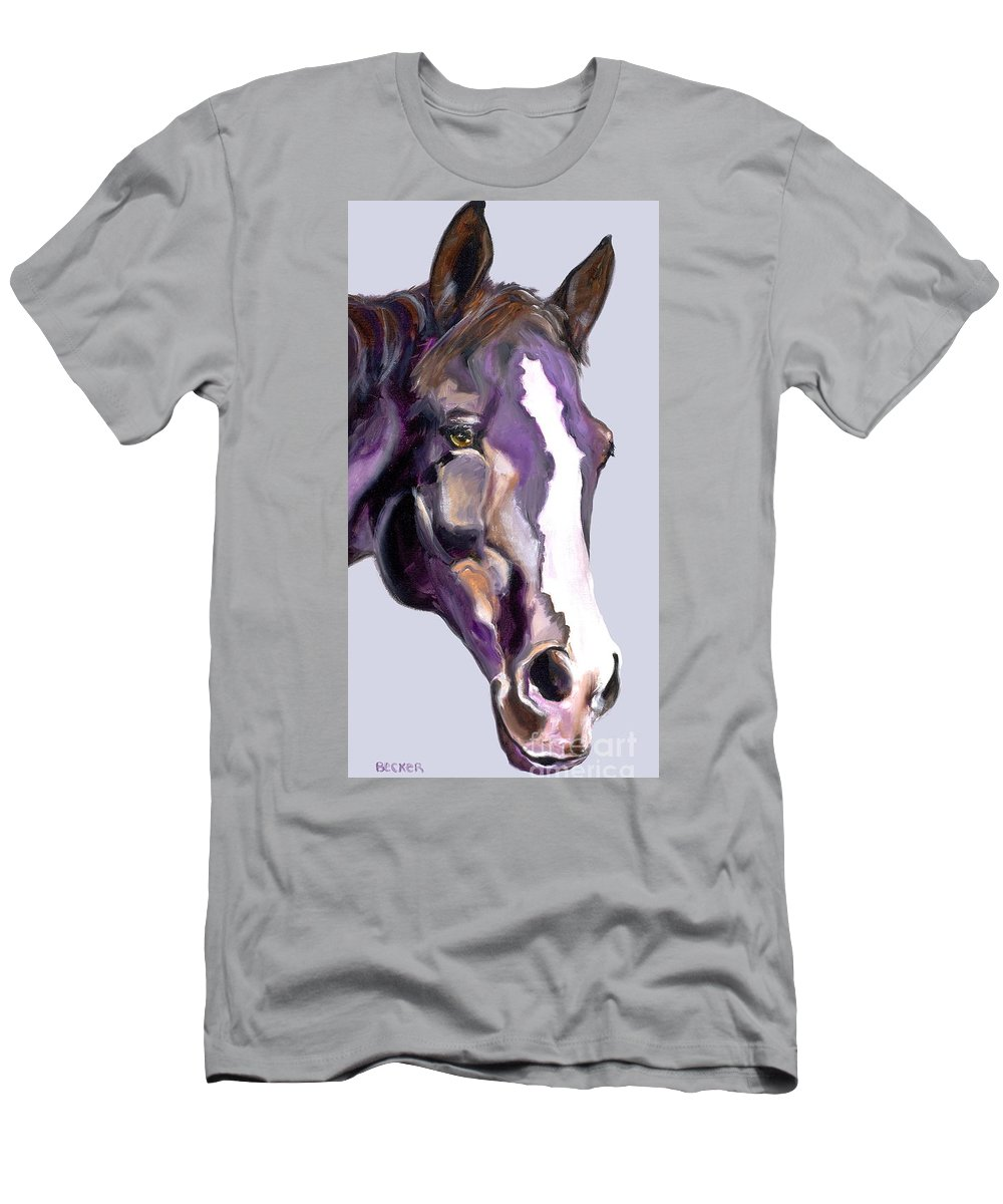 Thoroughbred Men's T-Shirt (Athletic Fit) featuring the painting Eye On The Prize by Susan A Becker