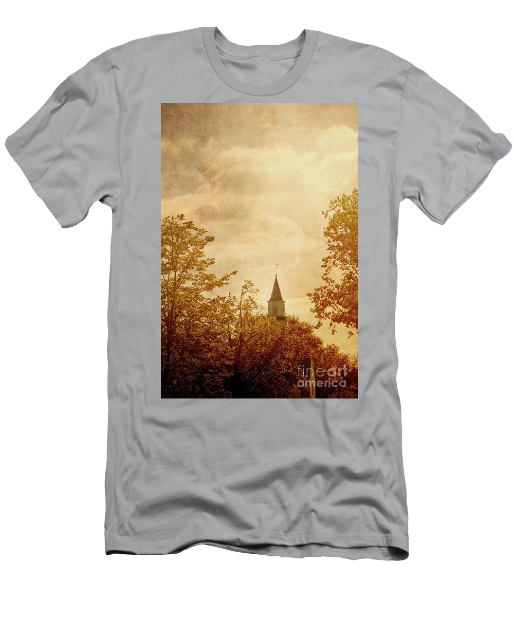 Church; Religion; Religious; Building; Worship; Steeple; Wood; Quaint; Town; Village; Branches; Fall; Autumn; Season; Catholic; Christian; Sky; Leaves; Clouds; Orange; Rust Men's T-Shirt (Athletic Fit) featuring the photograph Fall Church by Margie Hurwich
