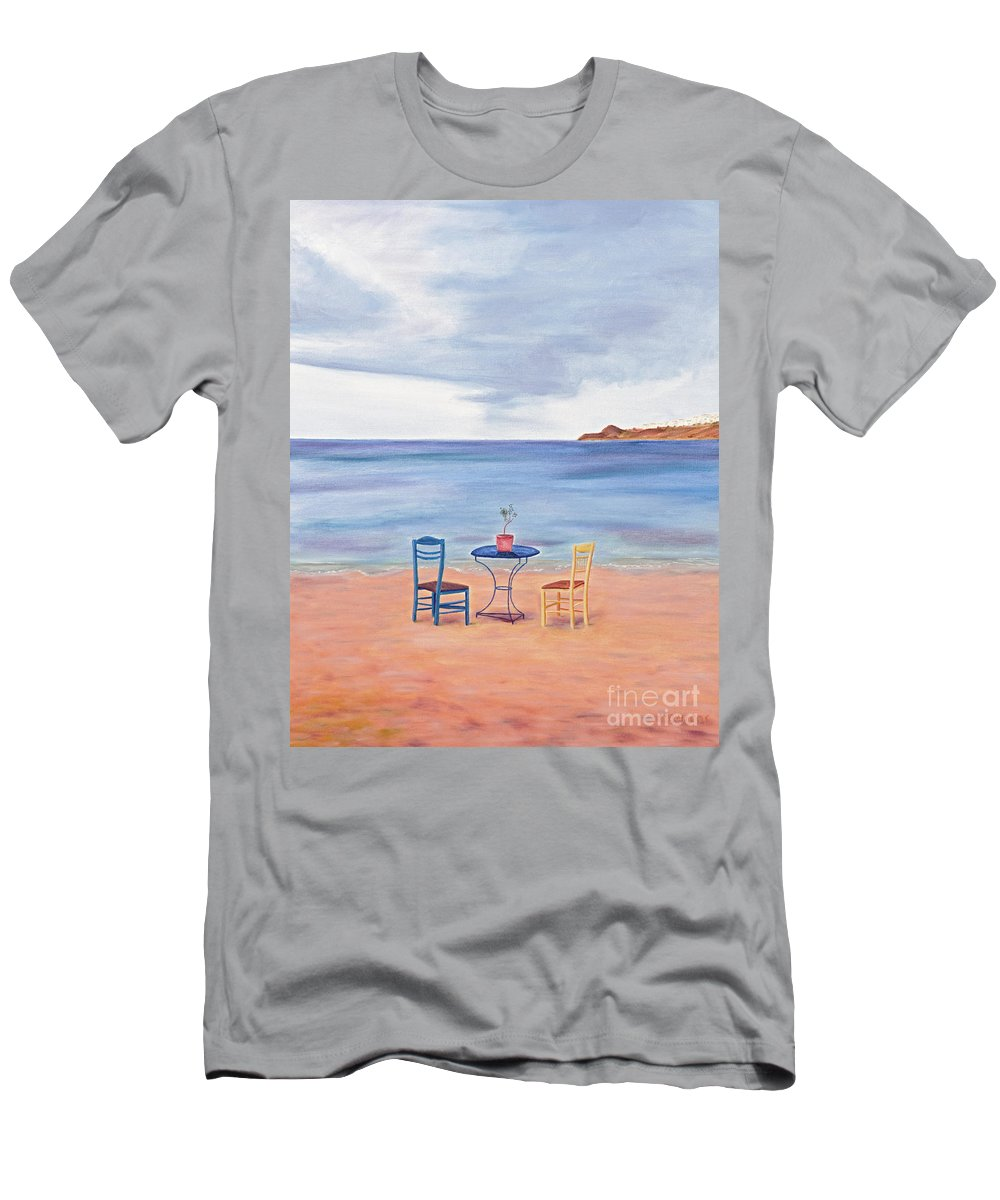 Fall Men's T-Shirt (Athletic Fit) featuring the painting Fall In Mykonos by Nicolas Nomicos