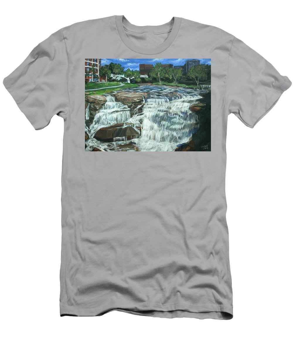 Waterfall Men's T-Shirt (Athletic Fit) featuring the painting Falls River Park by Bryan Bustard