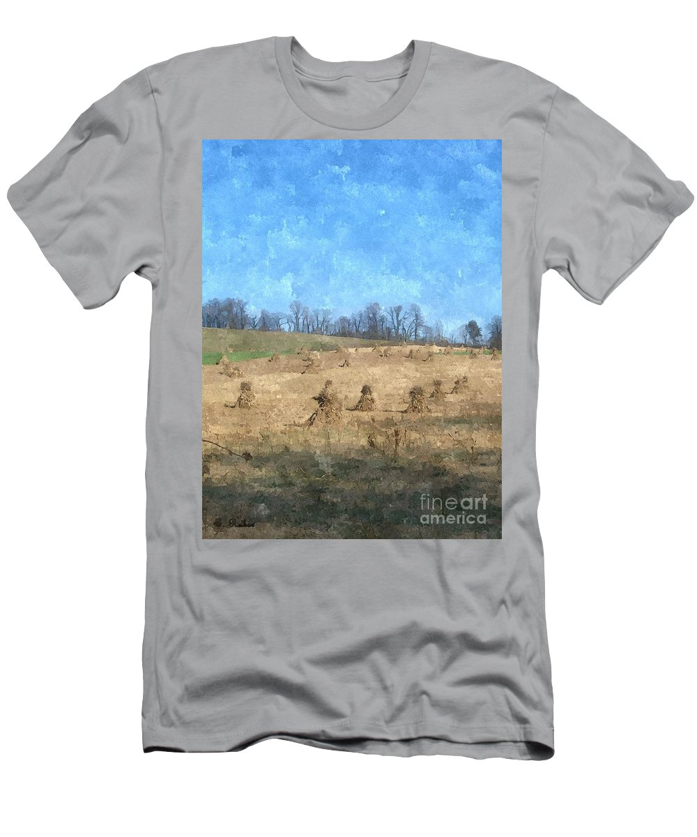 Farm Men's T-Shirt (Athletic Fit) featuring the painting Farm Days 2 by Sara Raber