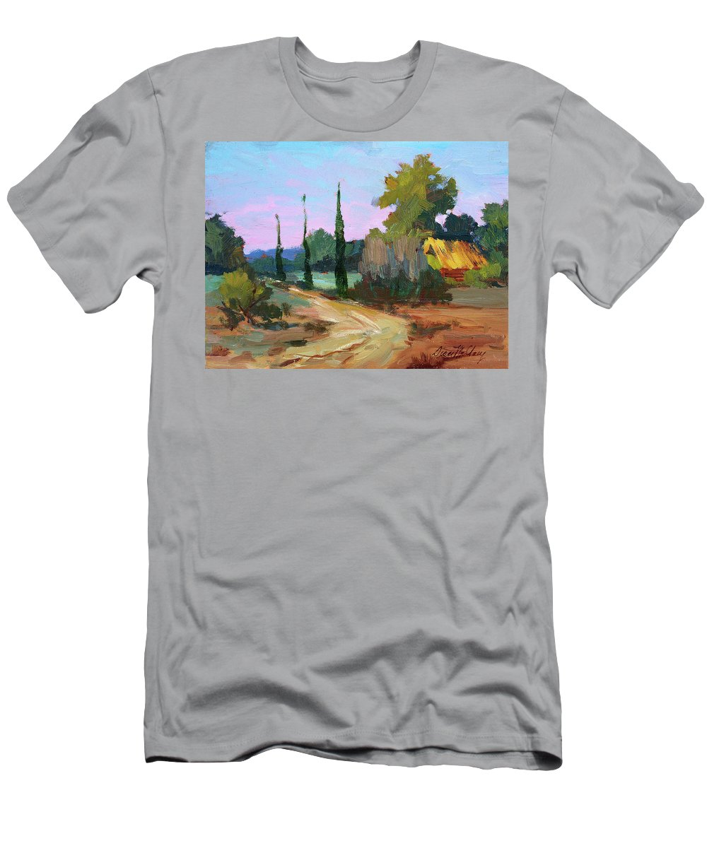 Farm In Provence Men's T-Shirt (Athletic Fit) featuring the painting Farm In Provence by Diane McClary