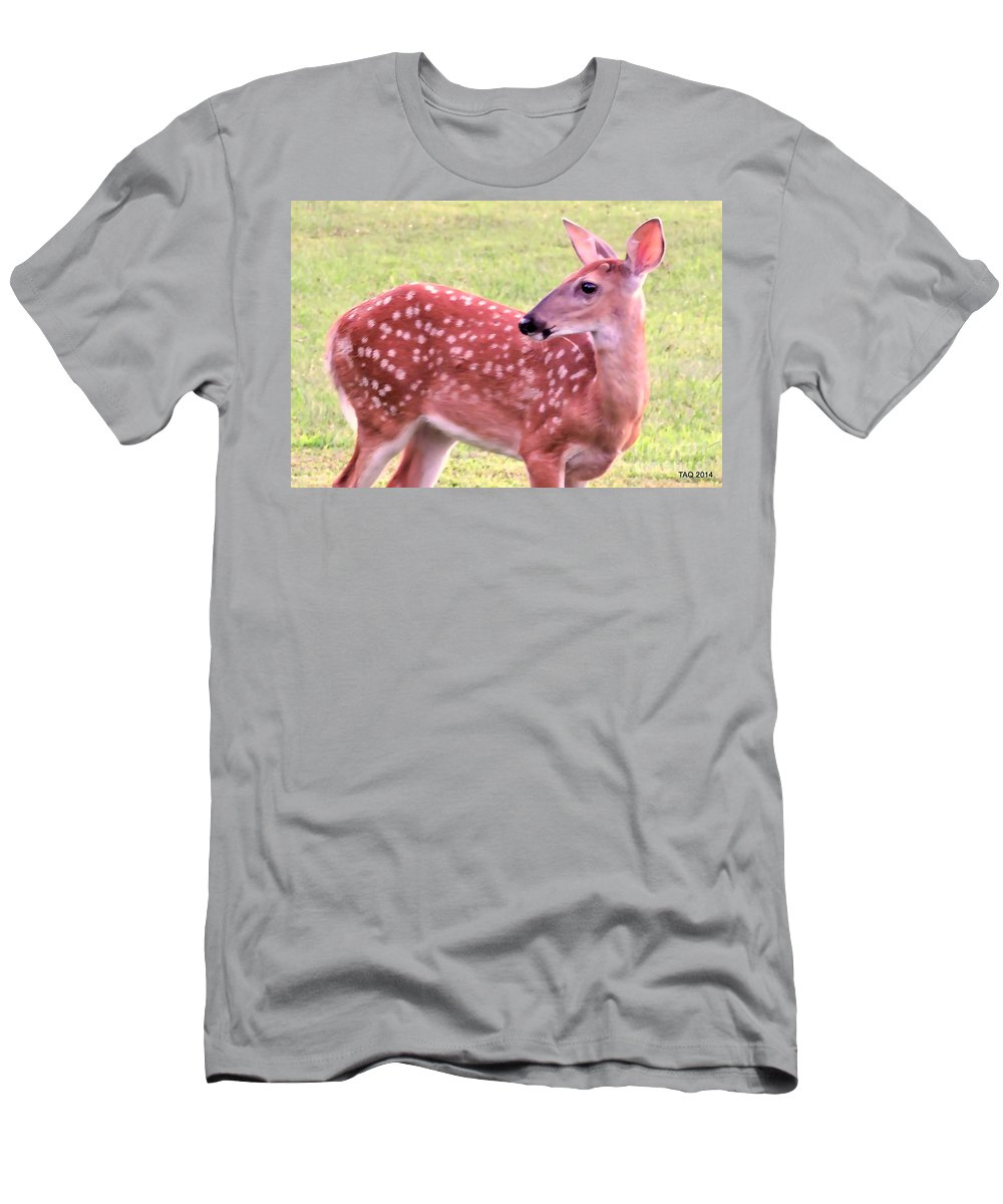Fawn Men's T-Shirt (Athletic Fit) featuring the photograph Fawn In The Waning Summer by Tami Quigley