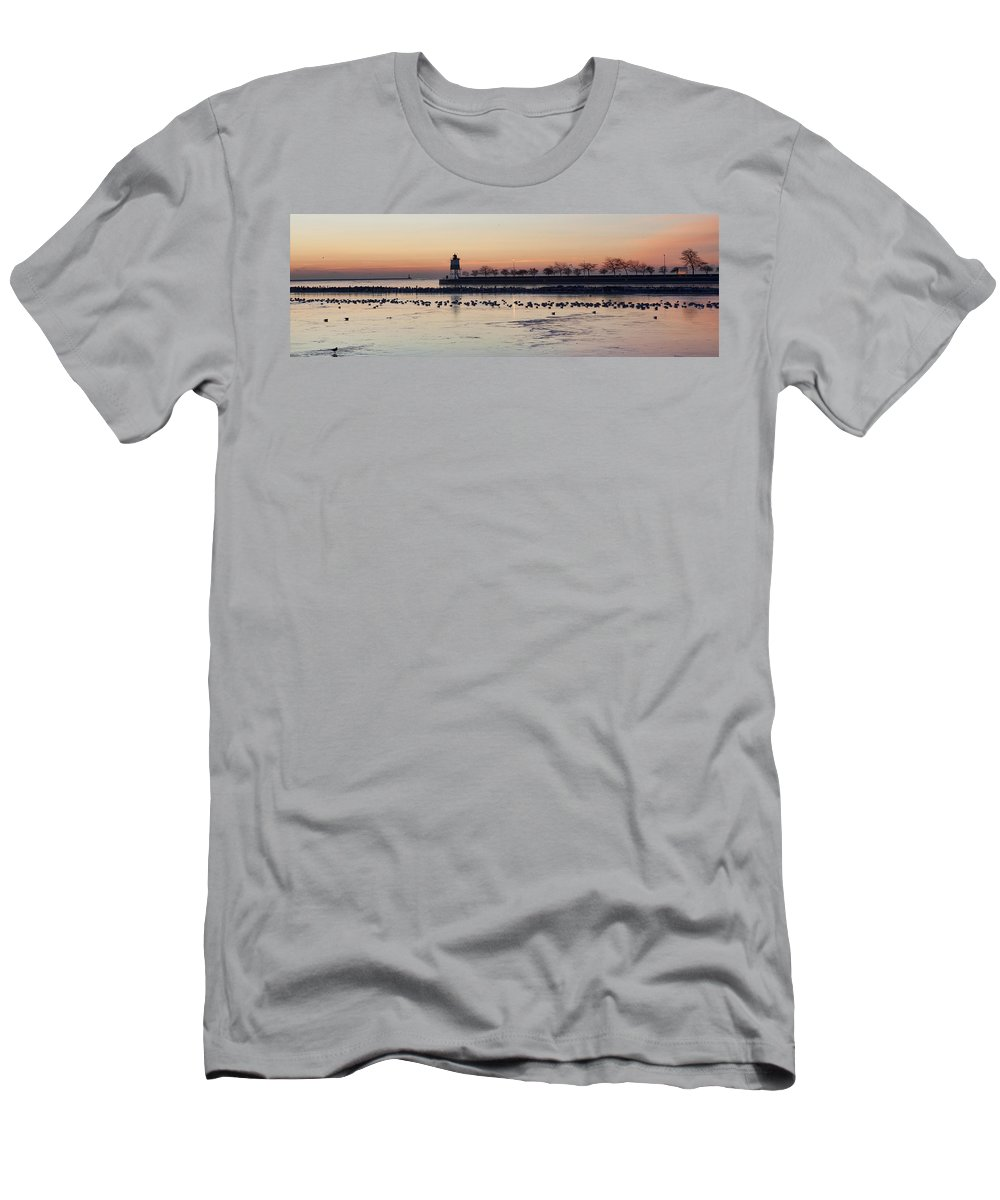 Navy Pier Men's T-Shirt (Athletic Fit) featuring the photograph February Navy Pier Chicago Illinois by Evie Carrier