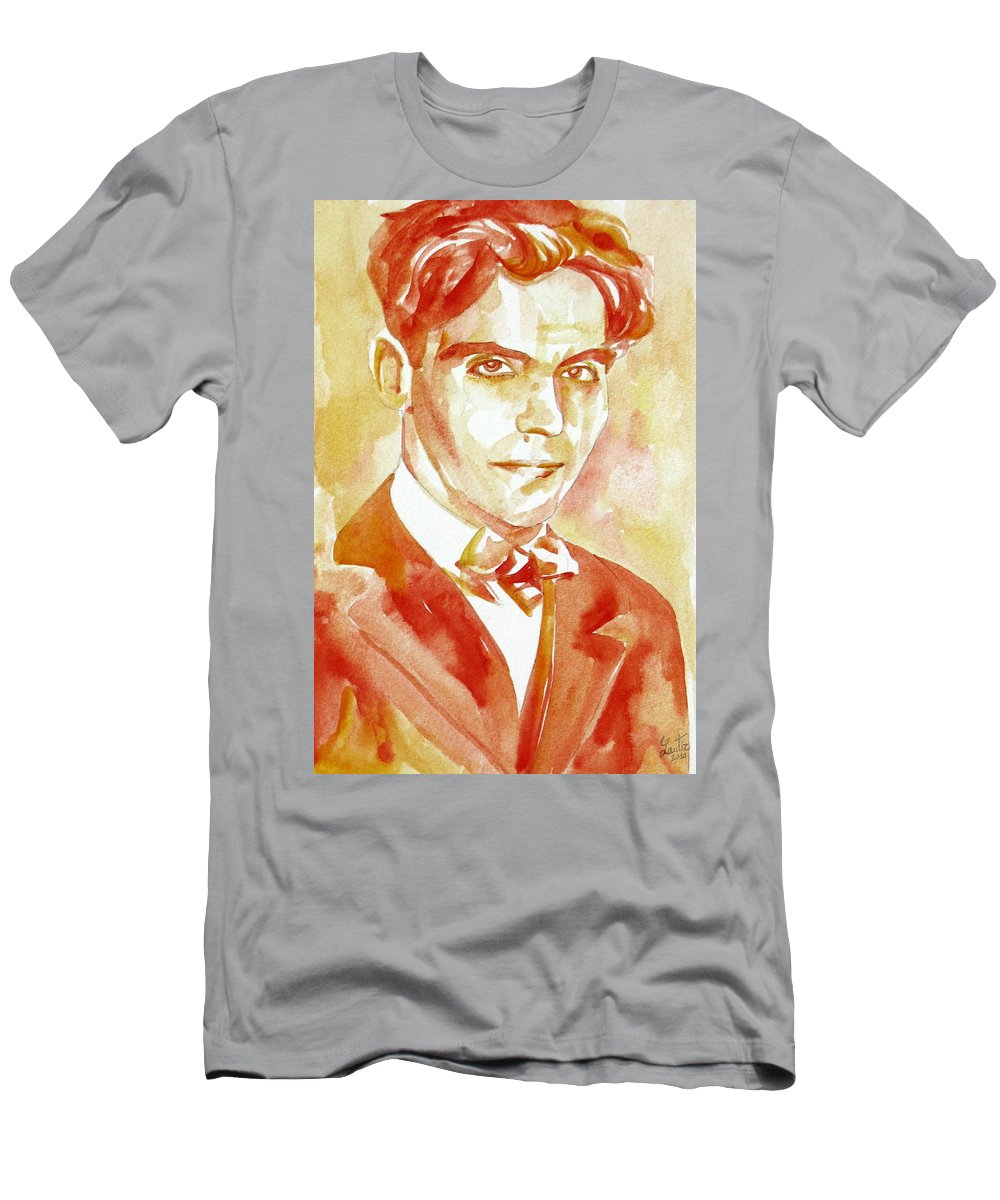 Federico Men's T-Shirt (Athletic Fit) featuring the painting Federico Garcia Lorca Portrait by Fabrizio Cassetta
