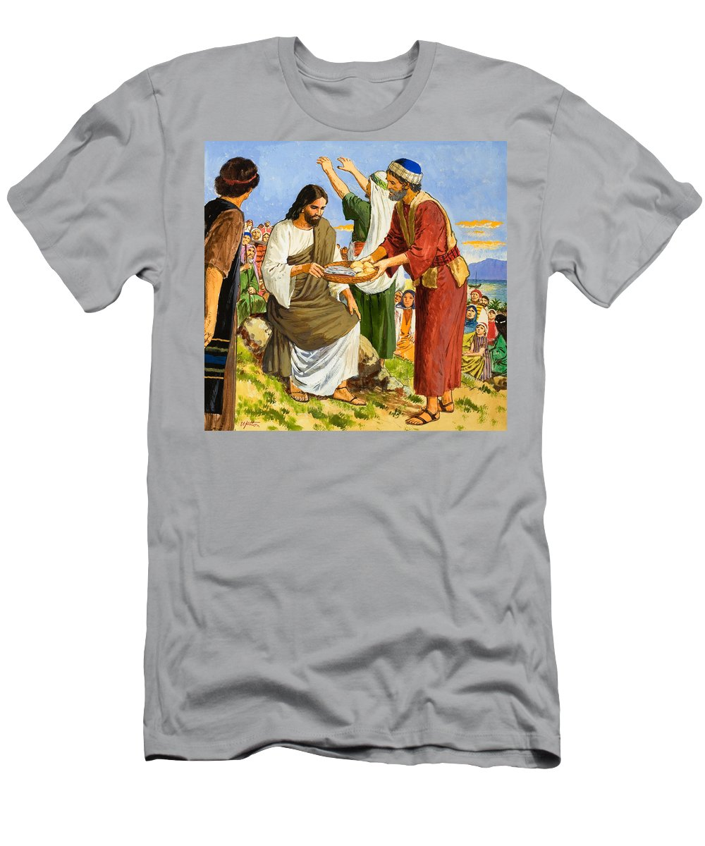 Miracle Men's T-Shirt (Athletic Fit) featuring the painting Feeding The Five Thousand by Clive Uptton