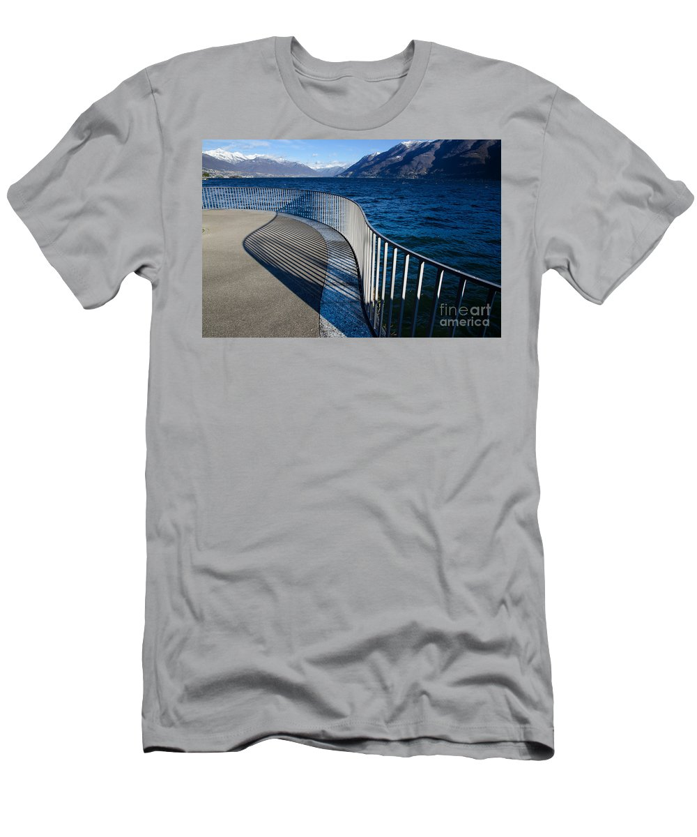 Banister Men's T-Shirt (Athletic Fit) featuring the photograph Fence With Shadow by Mats Silvan
