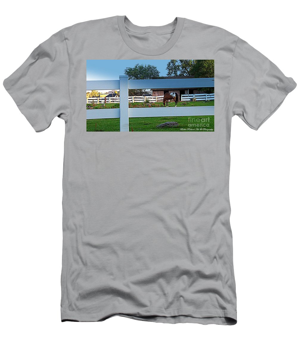 Barn Men's T-Shirt (Athletic Fit) featuring the photograph Fences by Bobbee Rickard