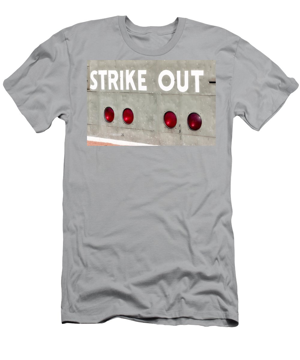 Green Monster Men's T-Shirt (Athletic Fit) featuring the photograph Fenway Park Strike - Out Scoreboard by Susan Candelario