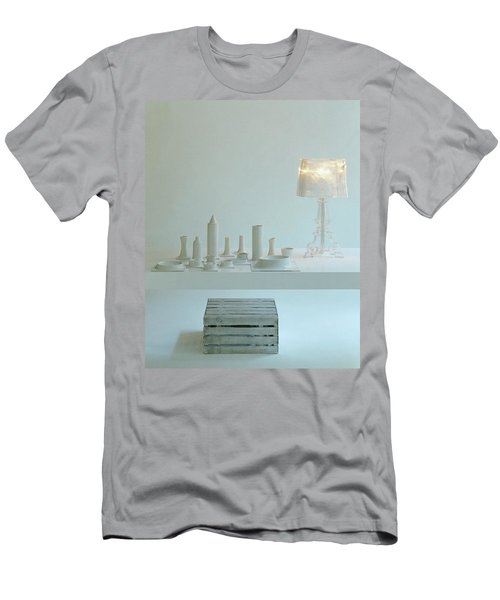 Kitchen Men's T-Shirt (Athletic Fit) featuring the photograph Ferruccio Laviani's Bourgie Lamp From Kartell by Romulo Yanes