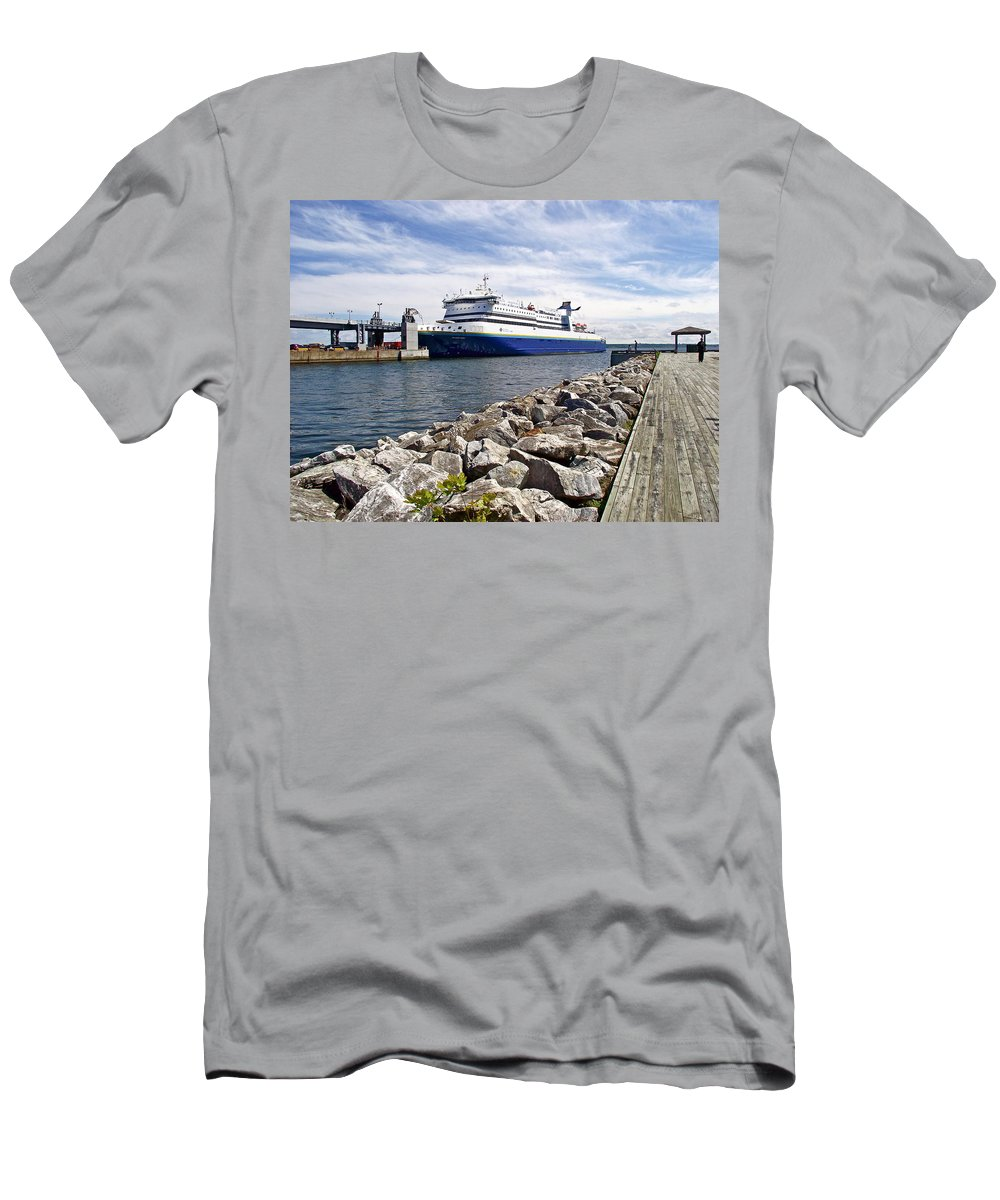 Ferry From North Sydney-ns To Argentia Men's T-Shirt (Athletic Fit) featuring the photograph Ferry From North Sydney-ns To Argentia-nl by Ruth Hager