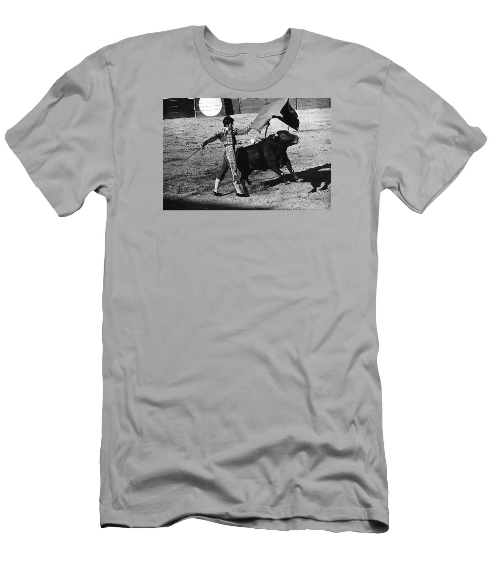 Film Homage Rudolph Valentino Blood And Sand 1922 Bullfight Nogales Sonora Mexico 1978 Black And White Men's T-Shirt (Athletic Fit) featuring the photograph Film Homage Rudolph Valentino Blood And Sand 1922 Bullfight Nogales Sonora Mexico 1978 by David Lee Guss