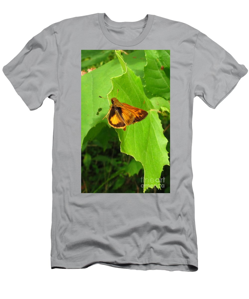 Firey Skipper Butterfly Images Butterfly Prints Nature Prints Naturalist Natural Science Meadow Ecosystem Maryland Butterfies American Butterflies Orange Butterflies Entomology Aerial Insect Images Pollinators Meadow Wildlife Wild Meadow Biodiversity Preservation Forest Flora Oldgrowth Forest Conservation Colorful Critter Prints Office Art Wall Art Green Design Green Interior Design Nature Photography Orange Butterfly Identification Forest Creatures Bugs Natural World Nature Walk Men's T-Shirt (Athletic Fit) featuring the photograph Firey Skipper Butterfly by Joshua Bales