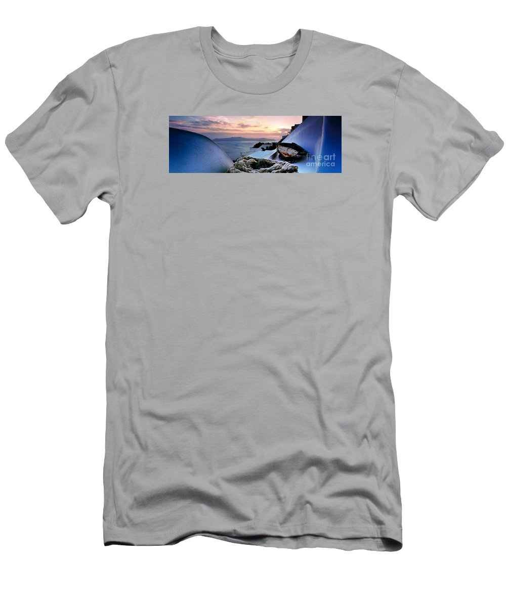 Firostefani Men's T-Shirt (Athletic Fit) featuring the photograph Santorini Sunset by Rod McLean