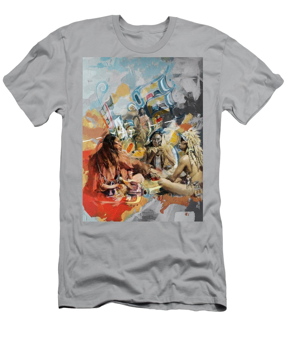 Aboriginals Men's T-Shirt (Athletic Fit) featuring the painting First Nations 42 by Corporate Art Task Force