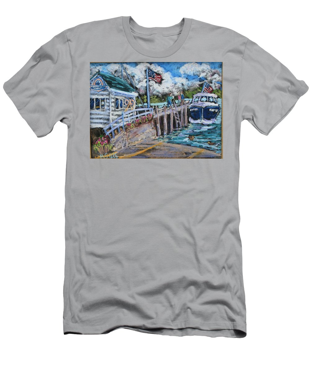 Door County Men's T-Shirt (Athletic Fit) featuring the painting Fish Creek Boat Launch by Madonna Siles