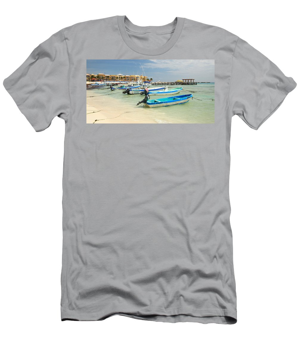 Boats Men's T-Shirt (Athletic Fit) featuring the photograph Fishing Boats In Playa Del Carmen by Roupen Baker