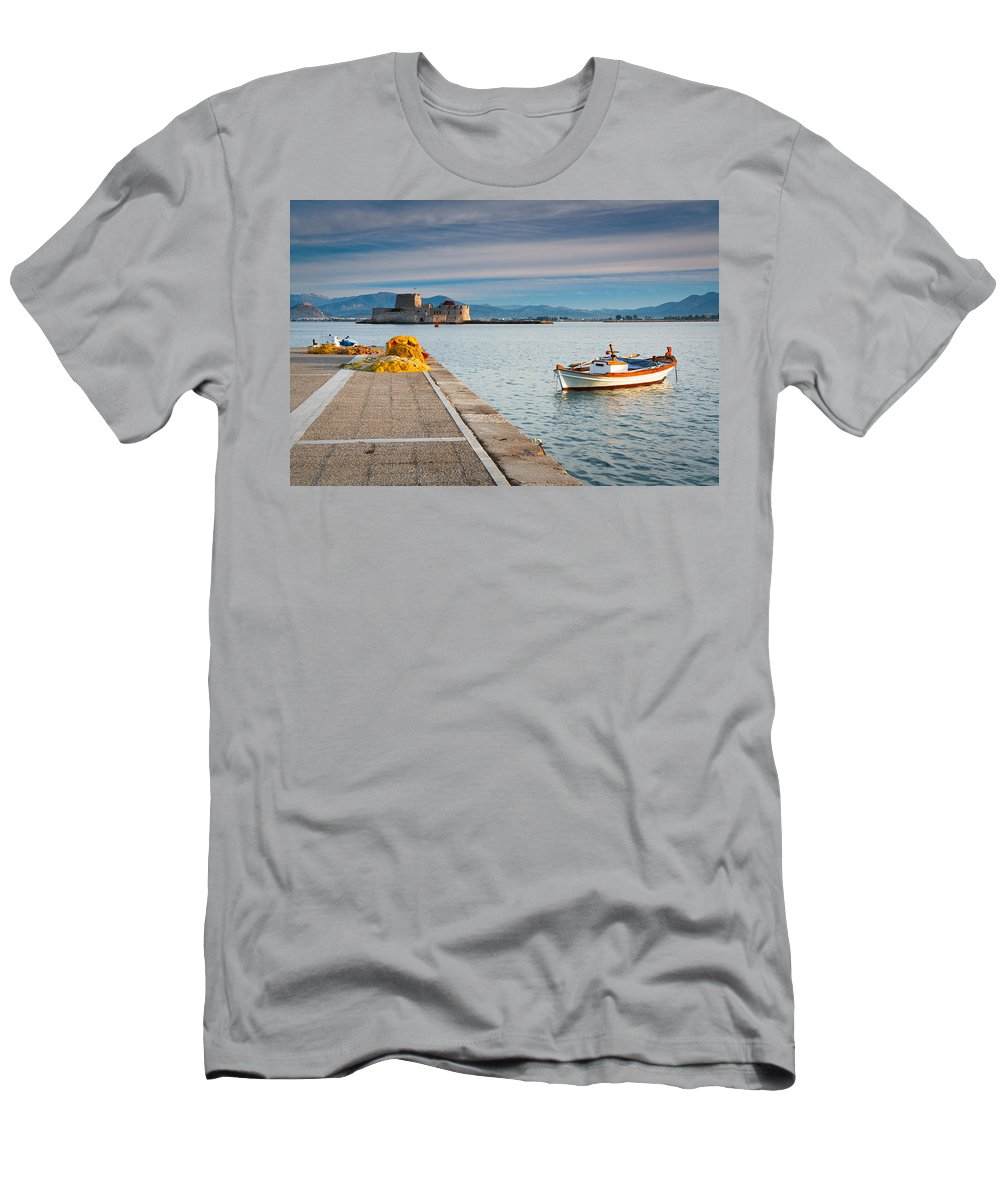 Greece Men's T-Shirt (Athletic Fit) featuring the photograph fishing boats 'XIV by Milan Gonda