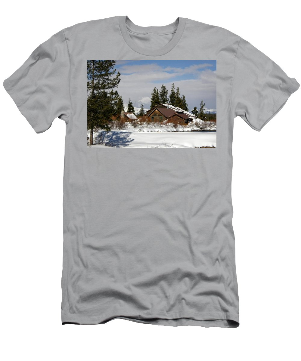 Island Park Men's T-Shirt (Athletic Fit) featuring the photograph Fishing Lodge In The Winter by Image Takers Photography LLC - Carol Haddon