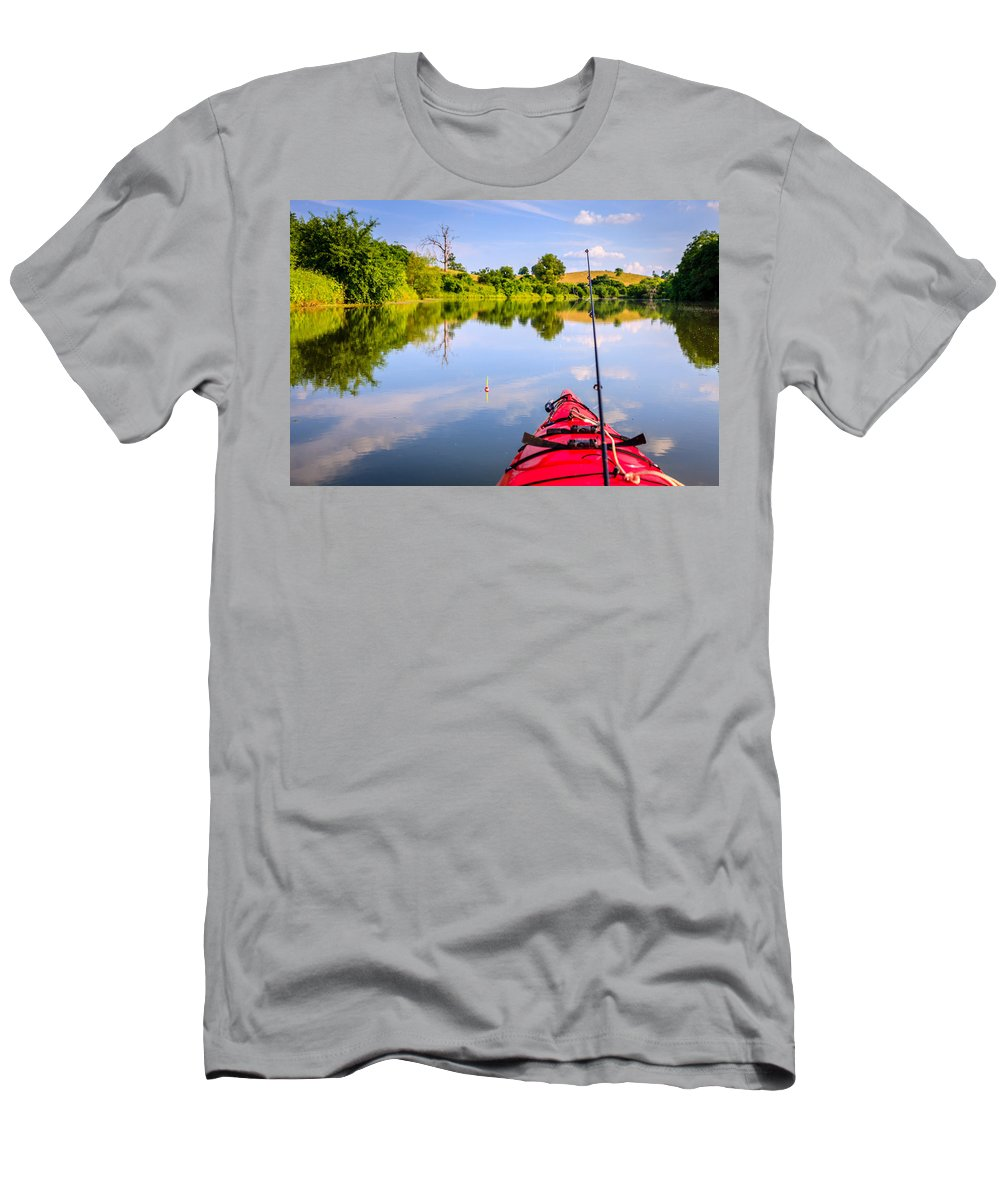 Lake Men's T-Shirt (Athletic Fit) featuring the photograph Fishing On The Lake by Alexey Stiop