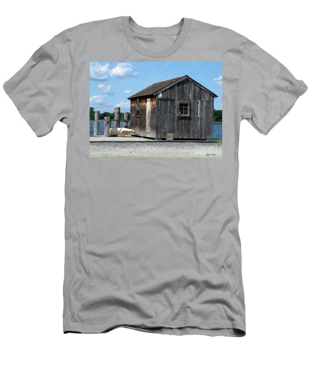 Shed Men's T-Shirt (Athletic Fit) featuring the painting Fishing Shack On The Mystic River by RC DeWinter