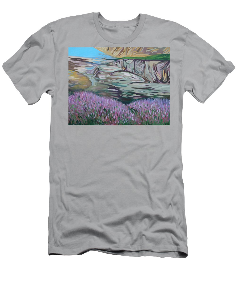 Fjord Men's T-Shirt (Athletic Fit) featuring the painting Fjord In Norway by Rita Pranca