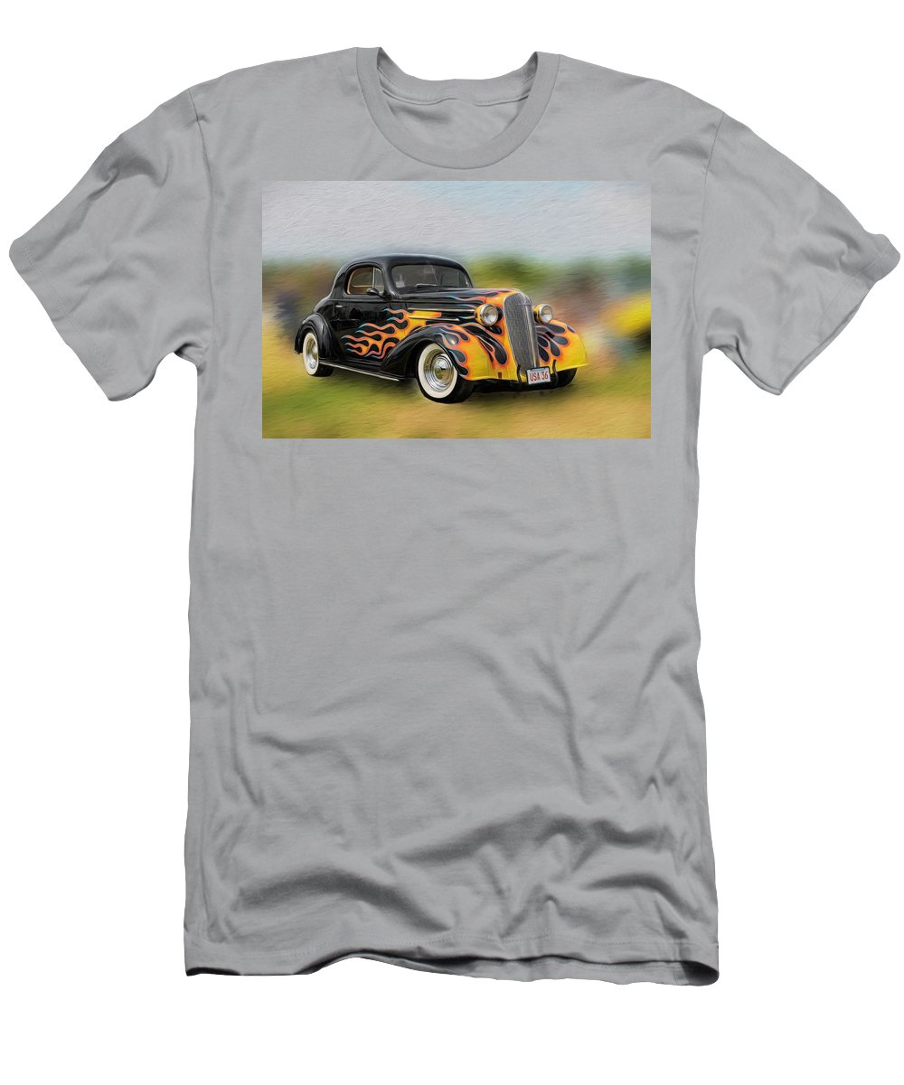 Antique Car Men's T-Shirt (Athletic Fit) featuring the photograph Flames On Wheels by Liz Mackney