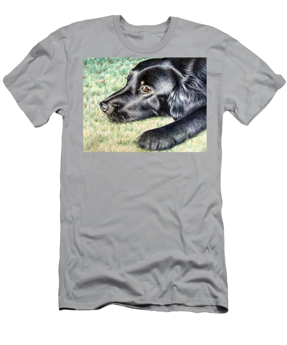 Dog Men's T-Shirt (Athletic Fit) featuring the painting Flat Coated Retriever by Nicole Zeug