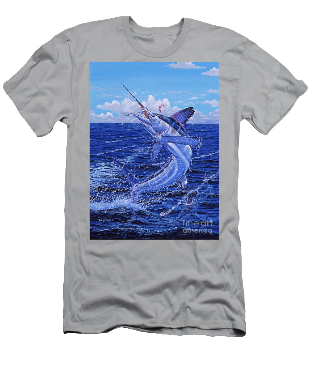 White Marlin Men's T-Shirt (Athletic Fit) featuring the painting Flat Line Off0077 by Carey Chen