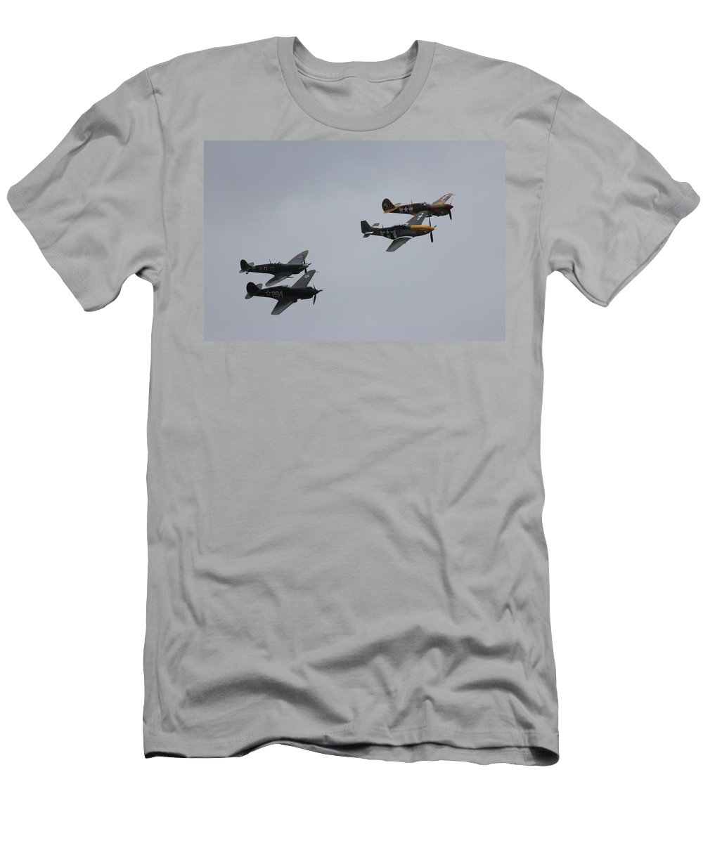 Spitfire Men's T-Shirt (Athletic Fit) featuring the photograph Flight Of Four by Robert Phelan