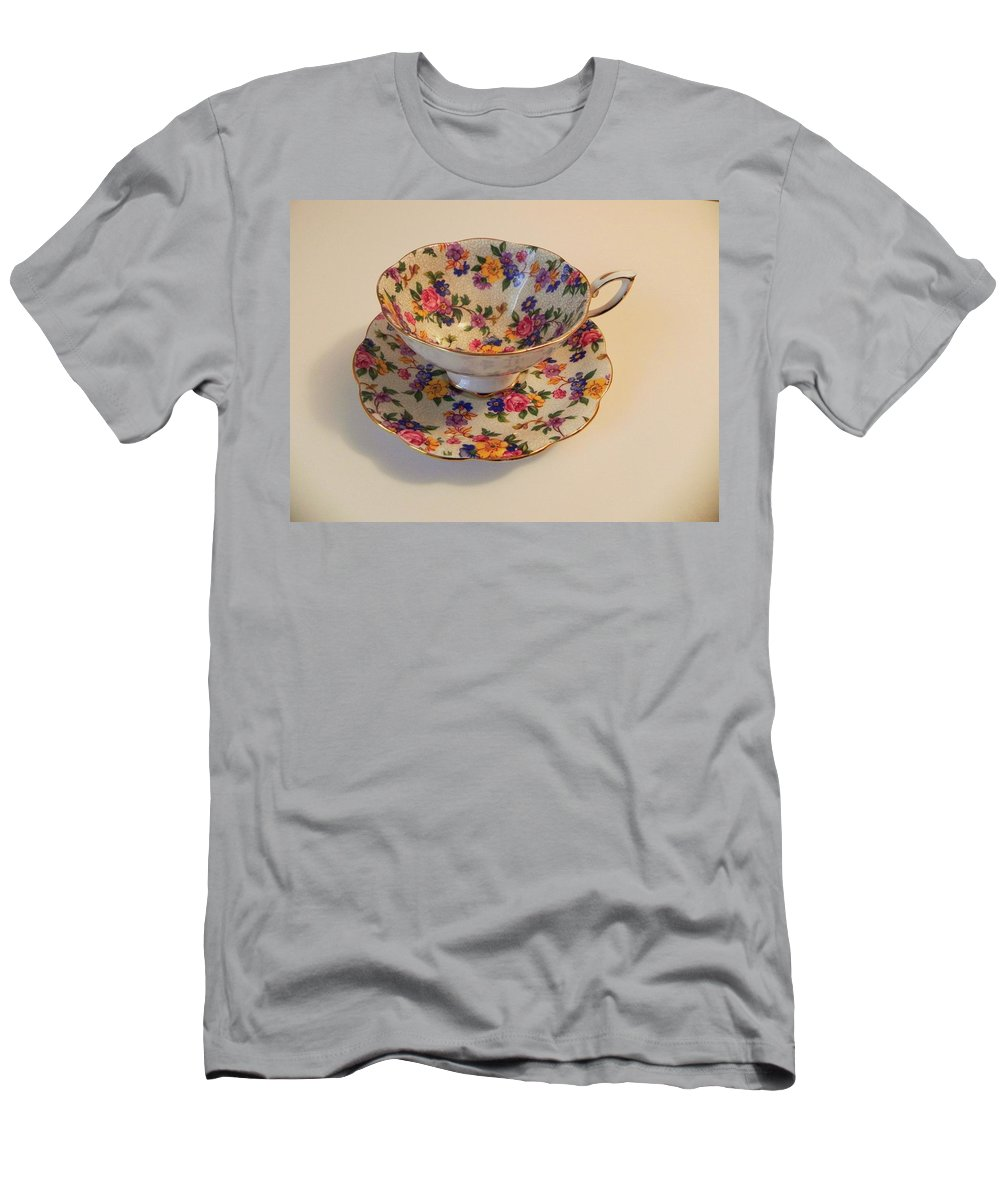 Bone China Men's T-Shirt (Athletic Fit) featuring the photograph Floral Tea Cup by Juanita Albert