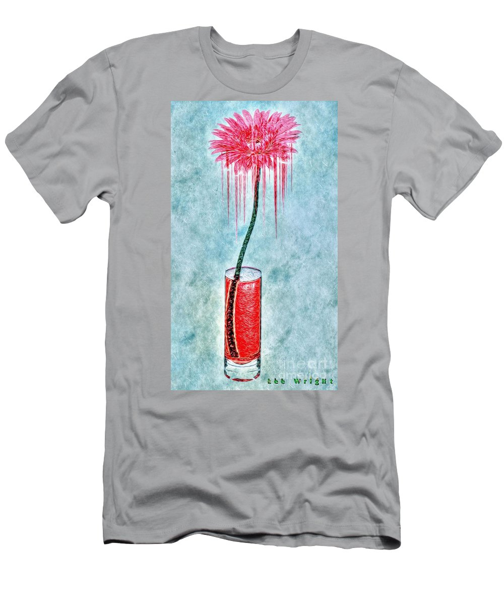 The Dancing Gerbera Men's T-Shirt (Athletic Fit) featuring the photograph Floral - The Dancing Gerbera by L Wright