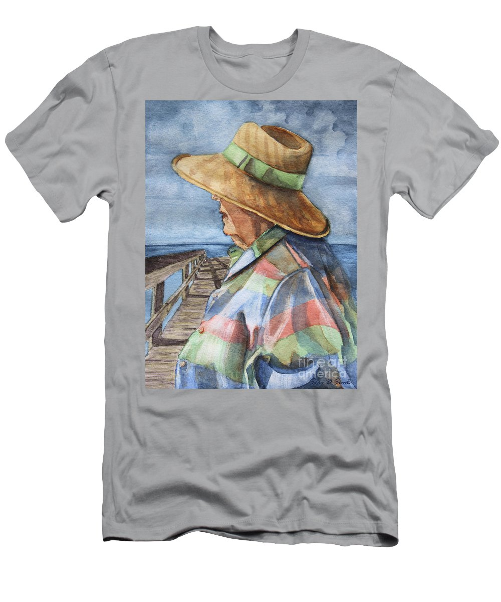Woman Men's T-Shirt (Athletic Fit) featuring the painting Flossie by Sari Sauls
