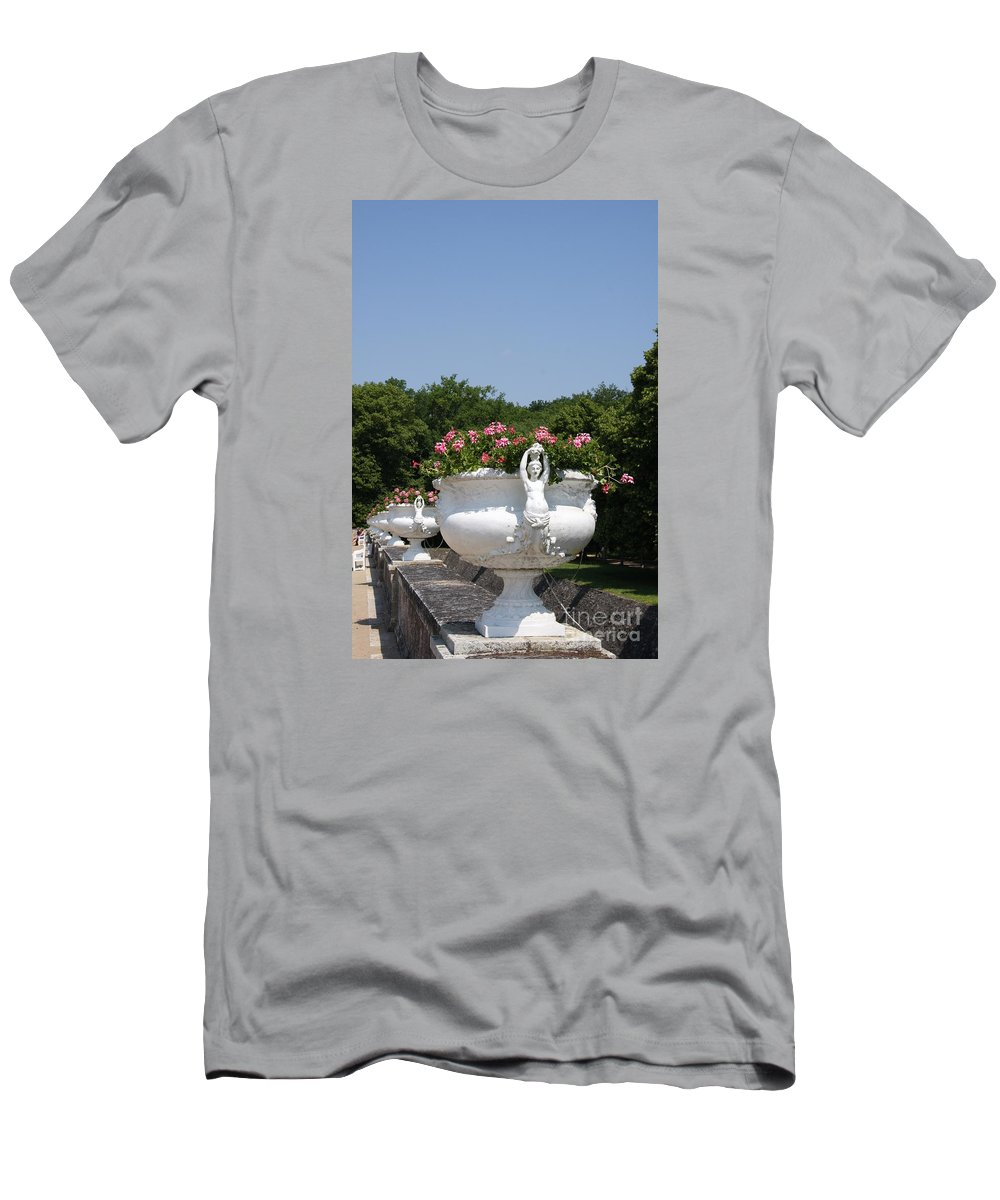 Basin Men's T-Shirt (Athletic Fit) featuring the photograph Flowerpots In A Row - Chateau Chenonceau by Christiane Schulze Art And Photography