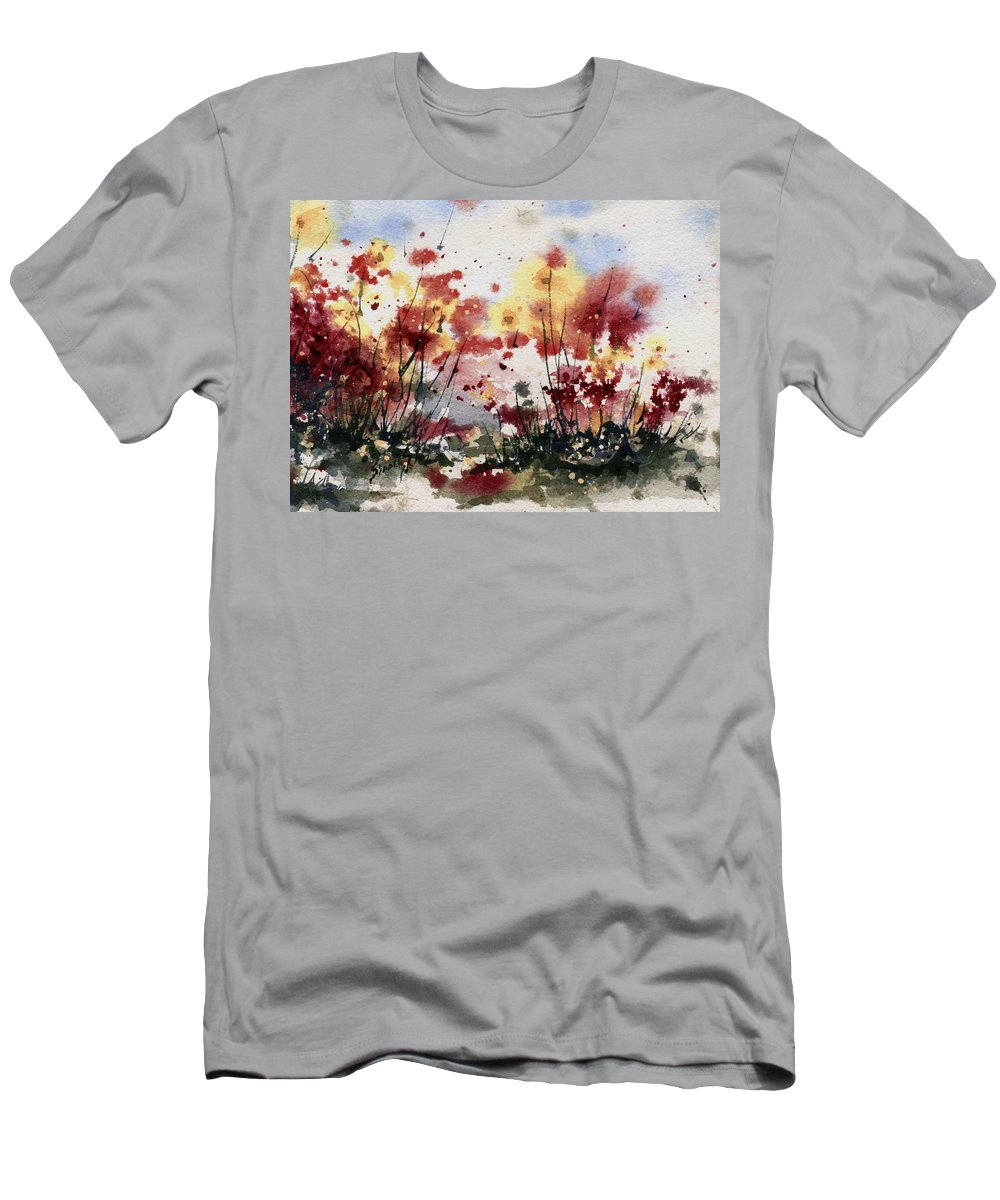 Floral T-Shirt featuring the painting Flowers by Sam Sidders