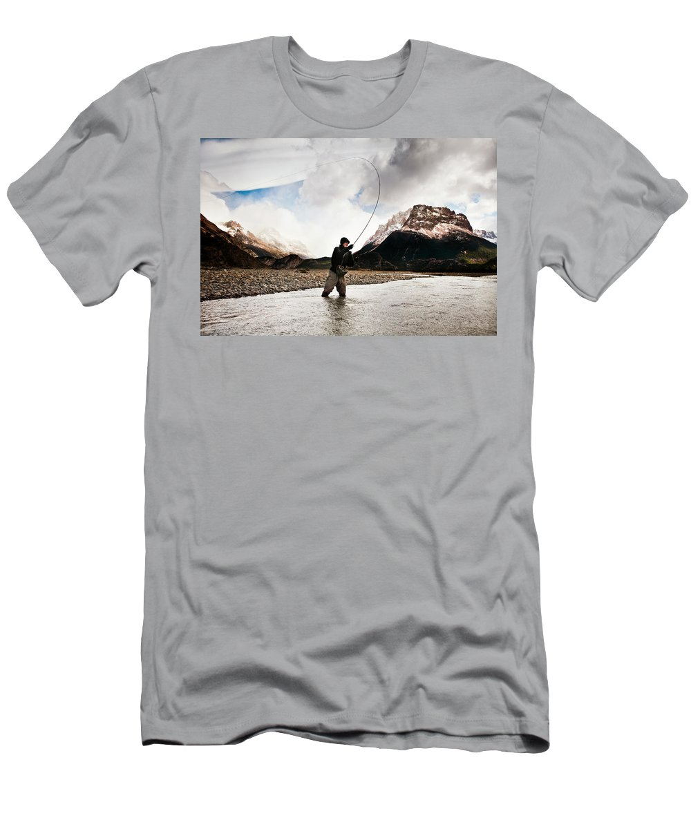 25-29 Years Men's T-Shirt (Athletic Fit) featuring the photograph Fly Fishing At The Base Of Fitz Roy by Sam Wells