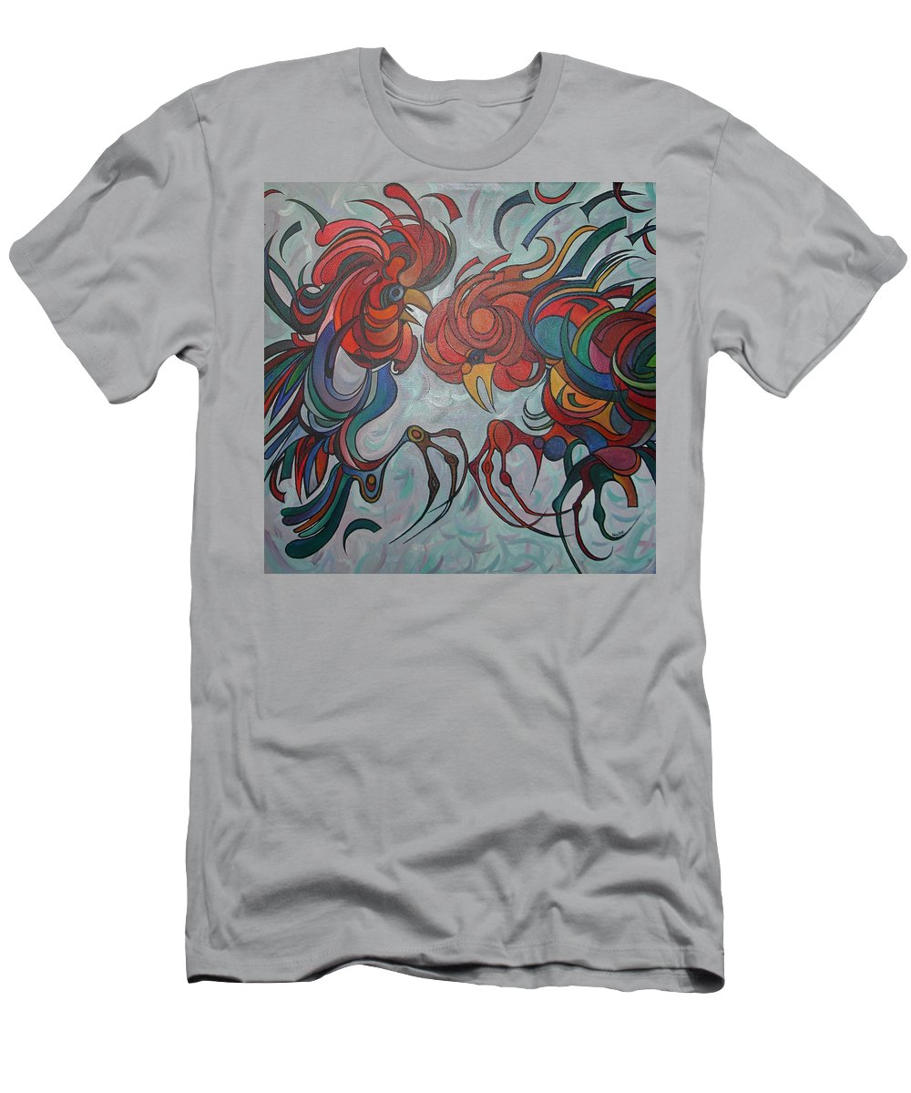 Roosters Men's T-Shirt (Athletic Fit) featuring the painting Flying Feathers by Taiche Acrylic Art