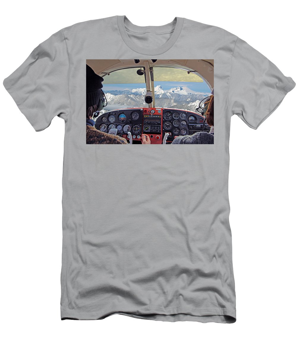 Aircraft Men's T-Shirt (Athletic Fit) featuring the photograph Flying Over North Cascades by Paul Fell