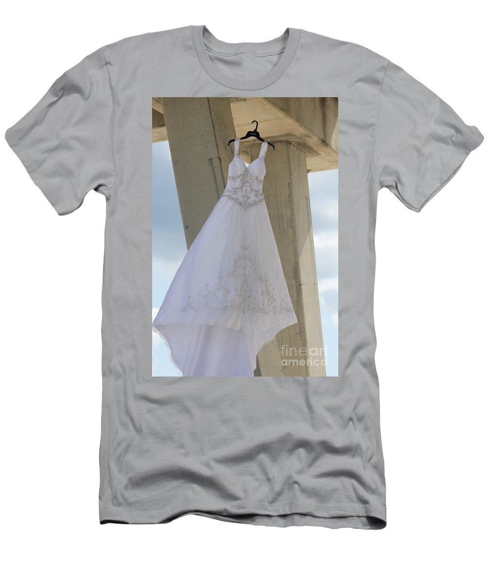 Ft.walton Beach Men's T-Shirt (Athletic Fit) featuring the photograph Flying Wedding Dress 3 by Michelle Powell