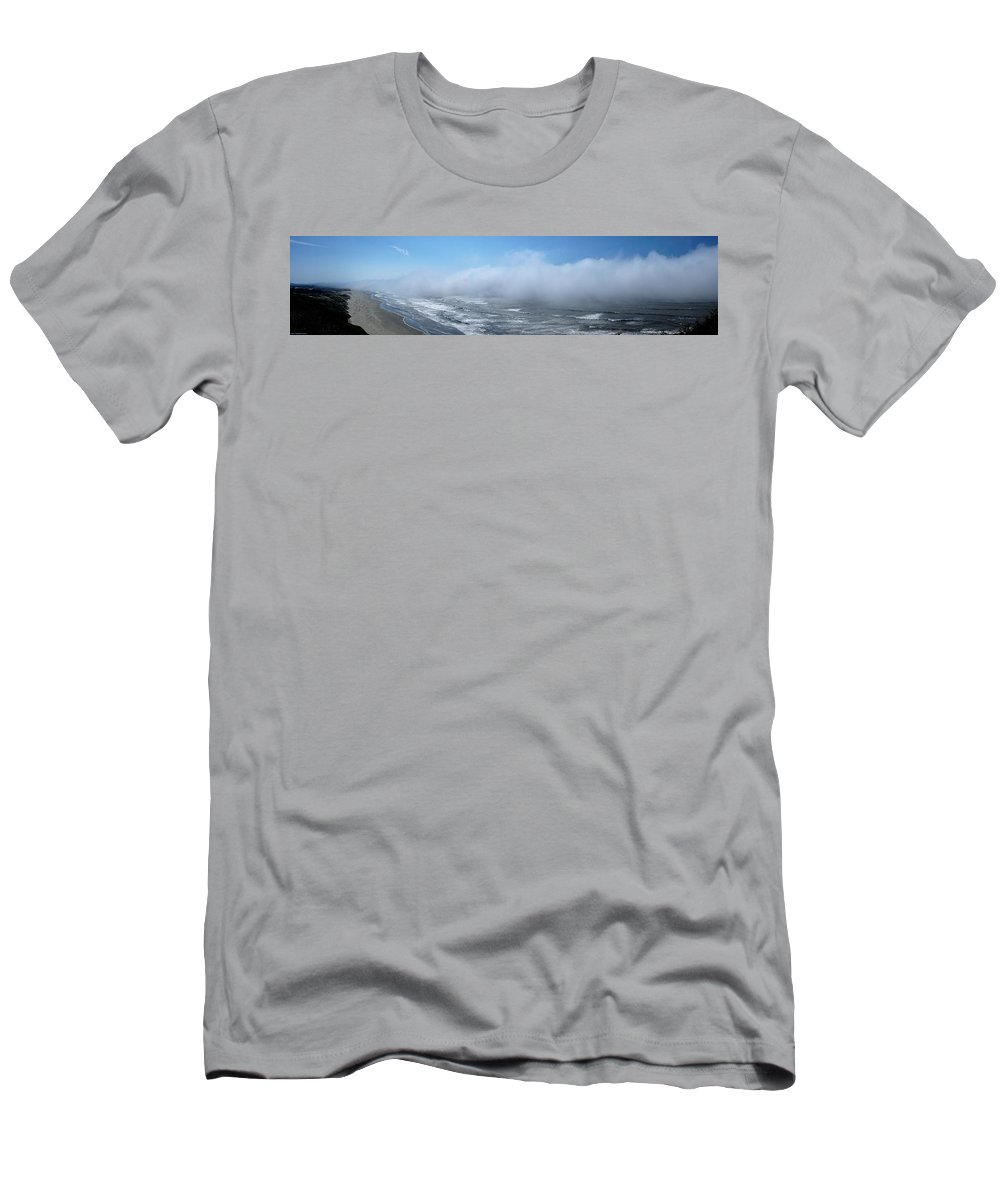 Panoramic Men's T-Shirt (Athletic Fit) featuring the photograph Fog Advances On The Oregon Coast by Mick Anderson