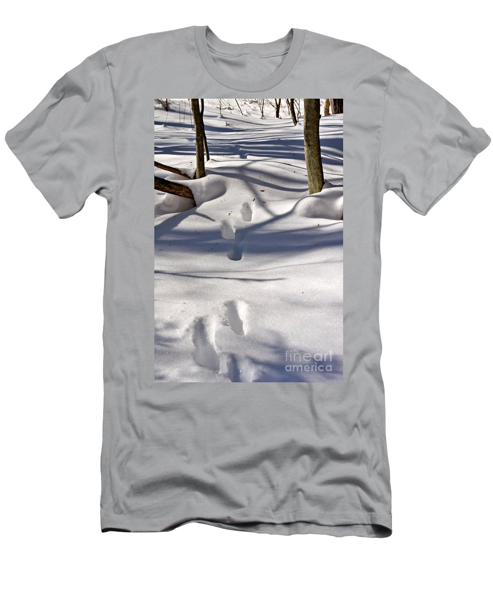 Landscape Men's T-Shirt (Athletic Fit) featuring the photograph Footprints In The Snow by Louise Heusinkveld