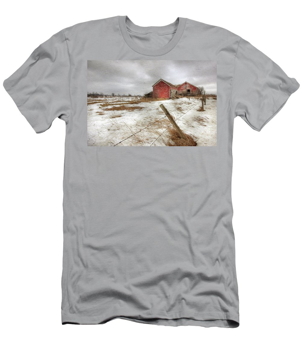 Old Red Barn Men's T-Shirt (Athletic Fit) featuring the photograph For Sale by Lori Deiter