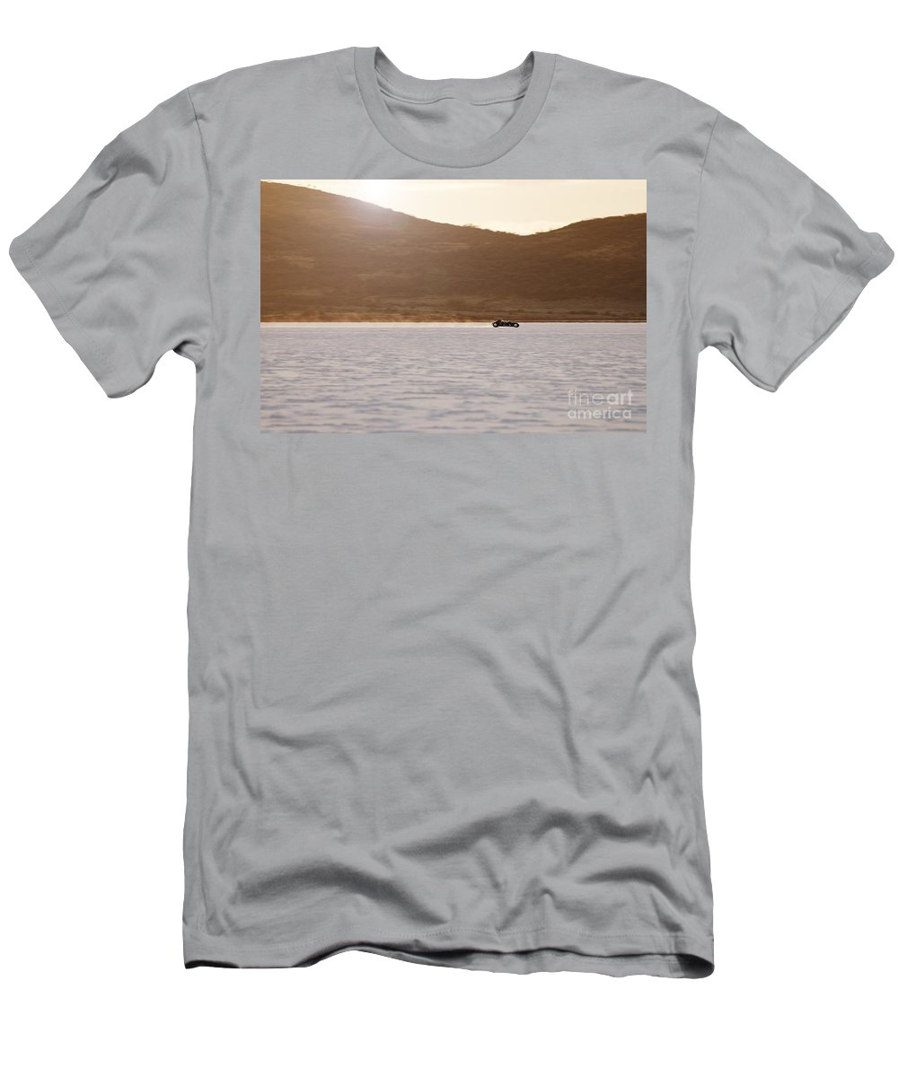 Dlra Men's T-Shirt (Athletic Fit) featuring the photograph Ford Hot Rod On The Salt At Full Throttle by Frank Kletschkus